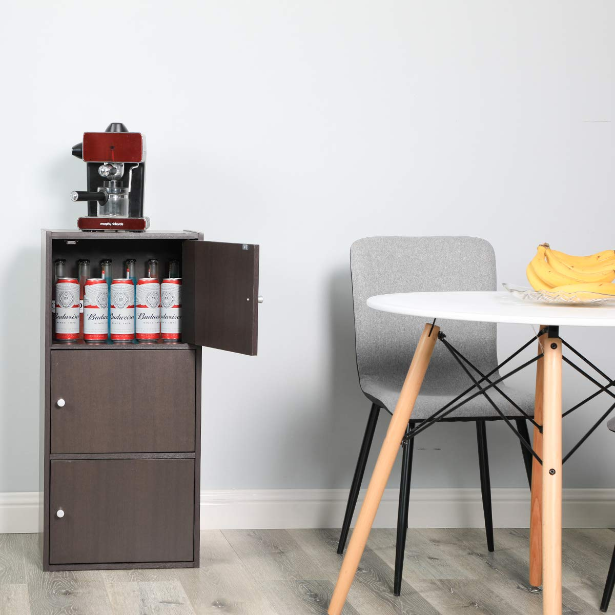 Multifunctional Storage-Cabinet with 3 Magnetic Doors Classic Modern Bookcase Home Office Vertical File Cabinets, Espresso Brown-CAS011 by Coavas (Image #8)