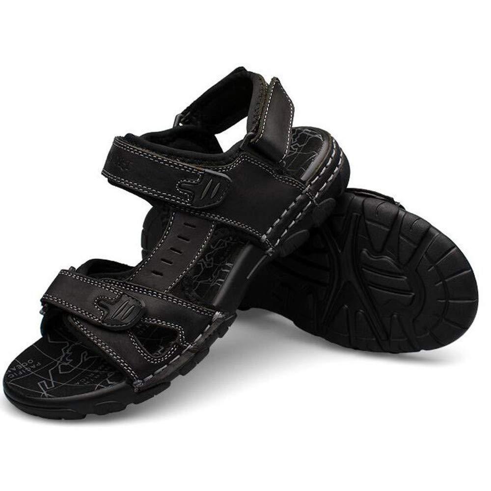 LYZGF Männer Klett Jugend Sommer Casual Leder Sandalen Mode Klett Männer Strand Hausschuhe schwarz 03e49e