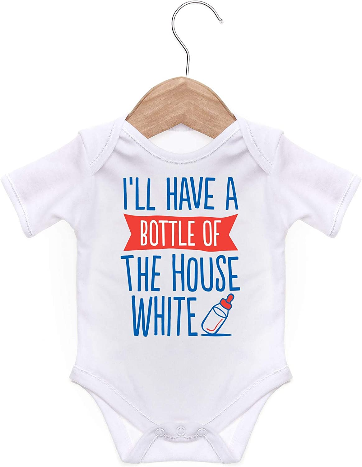 ART HUSTLE Ill Have A Bottle of The House White Short Sleeve Bodysuit//Baby Grow for Baby Boy Or Girl