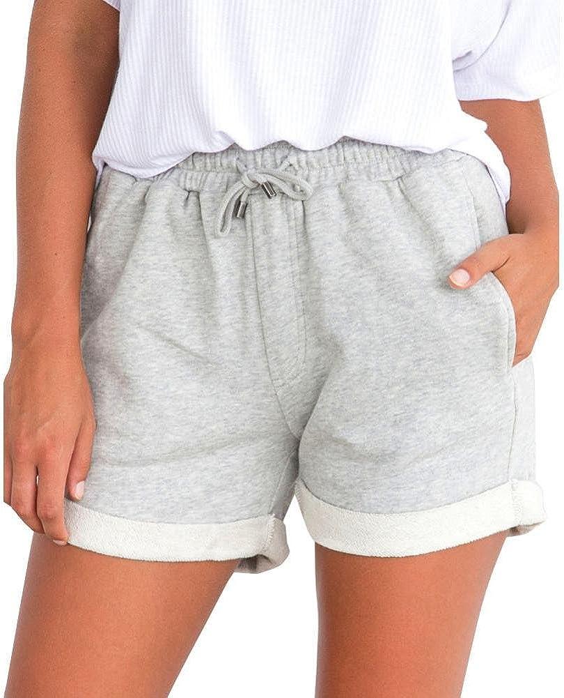 PAOLIAN Pantalones Cortos para Mujer Verano 2018 Casual Pantalones de Vestir Running Playa Sólido Fiesta con Pretina Elástica Algodón Cintura Alta Pantalones Cortos Jogger Deportivos