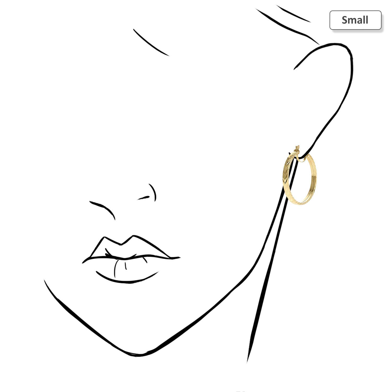 14K Yellow Gold Flat Tube Diamond Cut Hoop Earrings 35mm 46mm 51mm Small