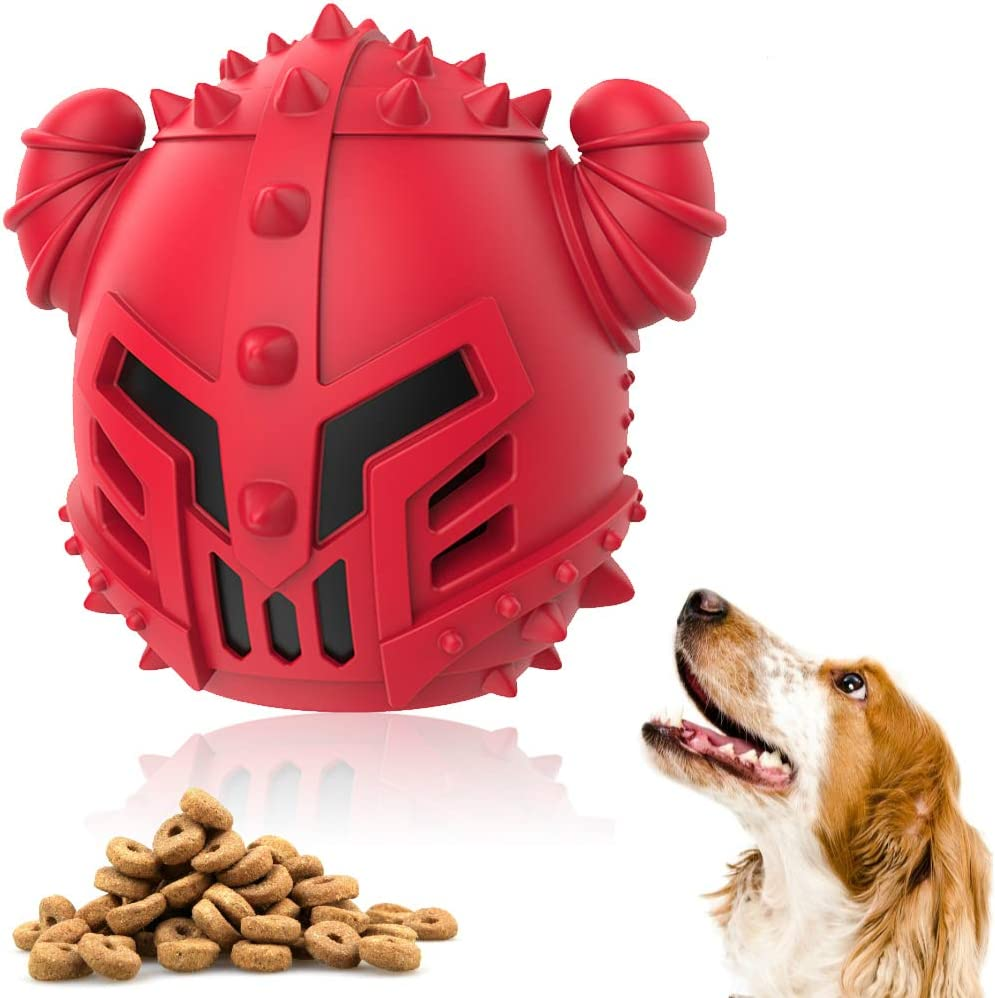 Dog Toys for Aggressive Chewer Large Breed, Rubber Chew Toy Ball Leaking Food Treat Toy Pet Tooth Cleaning Training Ball, Interactive Bite-Resistant Teeth Dog Ball Toys (Red)