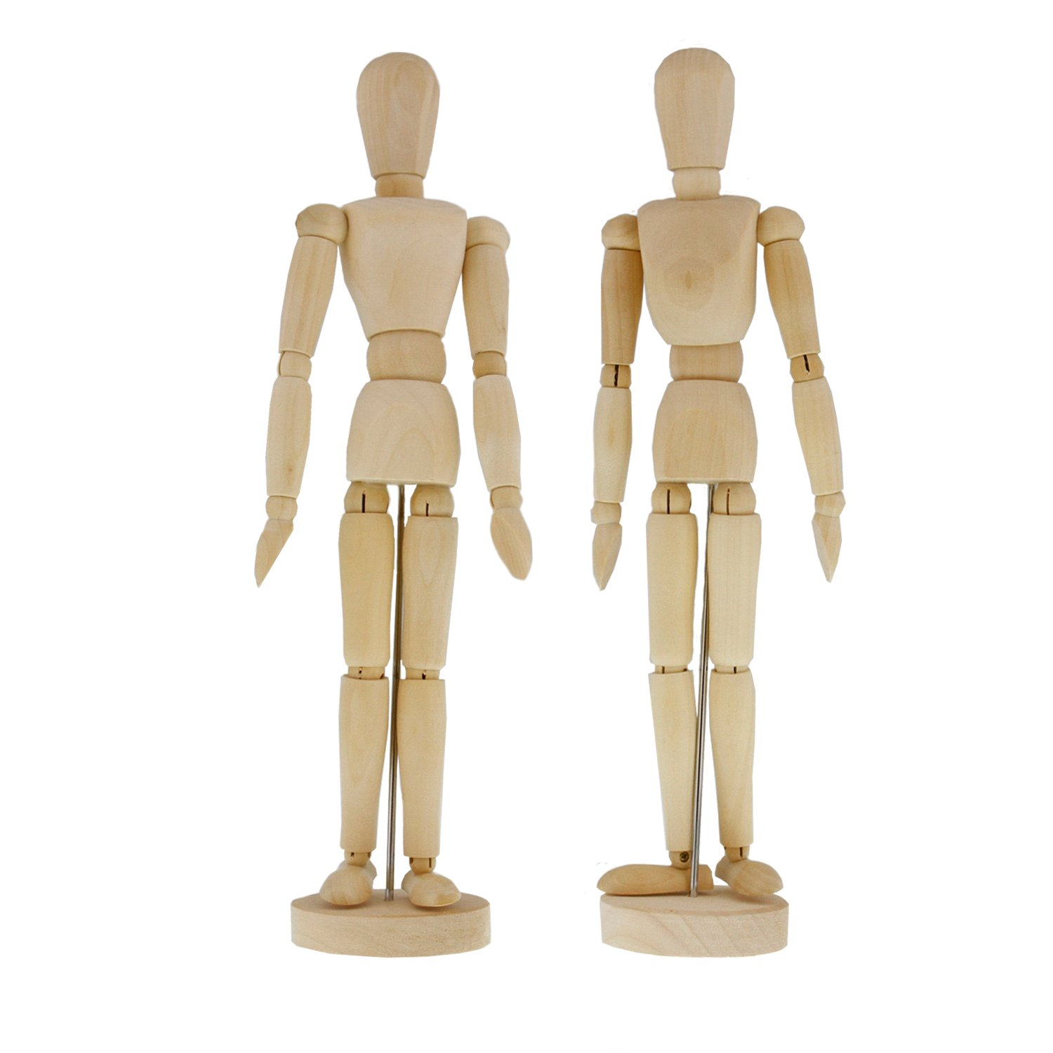 US Art Supply Wood 8'' Artist Drawing Manikin Articulated Mannequin with Base and Flexible Body - Perfect For Drawing the Human Figure (8'' Pair - Male & Female)