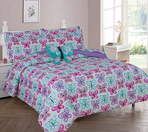 Elegant Home Butterflies Floral Multicolor Blue White Pink Design Full 8 Piece Comforter Bedding Set for Girls Kids Teens Bed In a Bag With Sheet Set & Decorative TOY Pillow # Butterfly Blue 2 (Full) by Elegant Home
