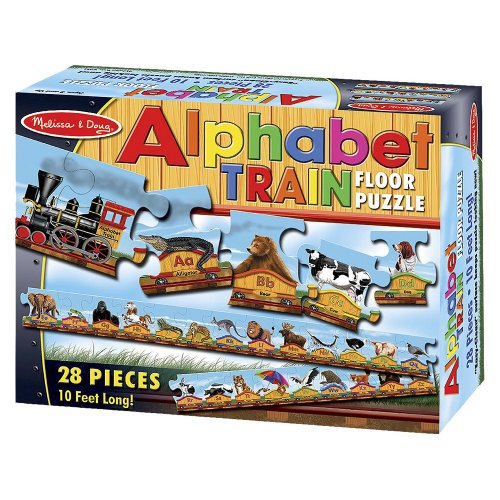 Alphabet Train: 28-Piece Floor Puzzle + FREE Melissa & Doug Scratch Art Mini-Pad Bundle [04247]