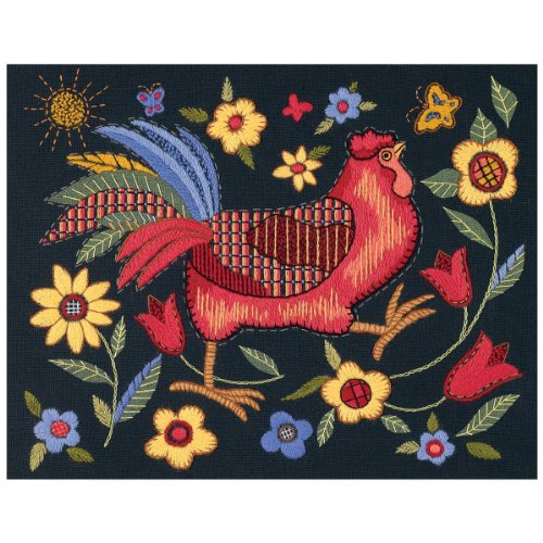 Dimensions Crafts Rooster Crewel Sttiched