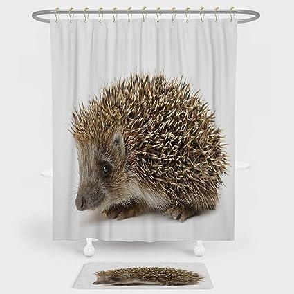 IPrint Hedgehog Shower Curtain Floor Mat Combination Set Small Cute Mammal Spiked Hair On Its Back