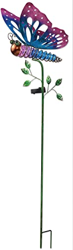 Sunset Vista Designs 92577 Purple Butterfly Garden Stake with Solar Powered Light, Metal and Glass
