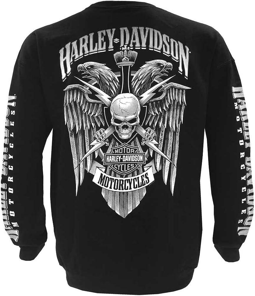 Black HARLEY-DAVIDSON Wisconsin Mens Lightning Crest Fleece Pullover Sweatshirt
