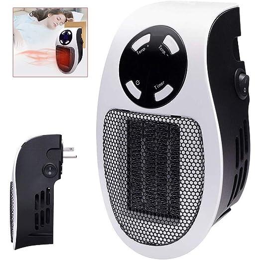 NBMN Estufa Eléctrica Calefactor Mini Portátil Handy Heater 220V 500W Temporización LCD Pequeño Ventilador Eléctrico para Dormitorio/Sala Estar/Cocina/Estudio/Oficina: Amazon.es: Hogar