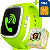 GBD Children Smart Watch Phone for Kids with GPS Tracker Fitness SIM Card Pedometer Anti-lost SOS Finder Touch Screen Smartwatch Wristband Bracelet for Smartphone (Green)