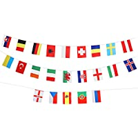 LUOEM 24 Countries Flags Bunting European Football Championship National Flags Banner for Club Bar Party Decoration Patriotic Party Supplies