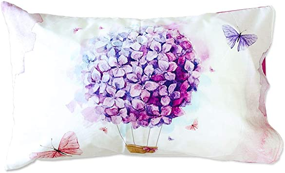 Coppia Federe Per Guanciale Ballon Floreale Ortensia I Love Sleeping Stampa D...