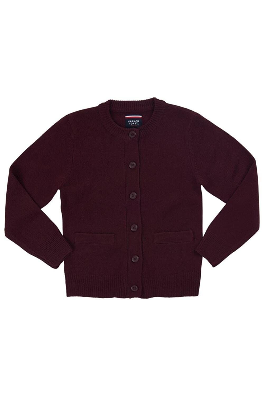 French Toast School Uniforms Anti-Pill Crew Neck Cardigan Sweater Girls burgundy 6 1371B BURG 6