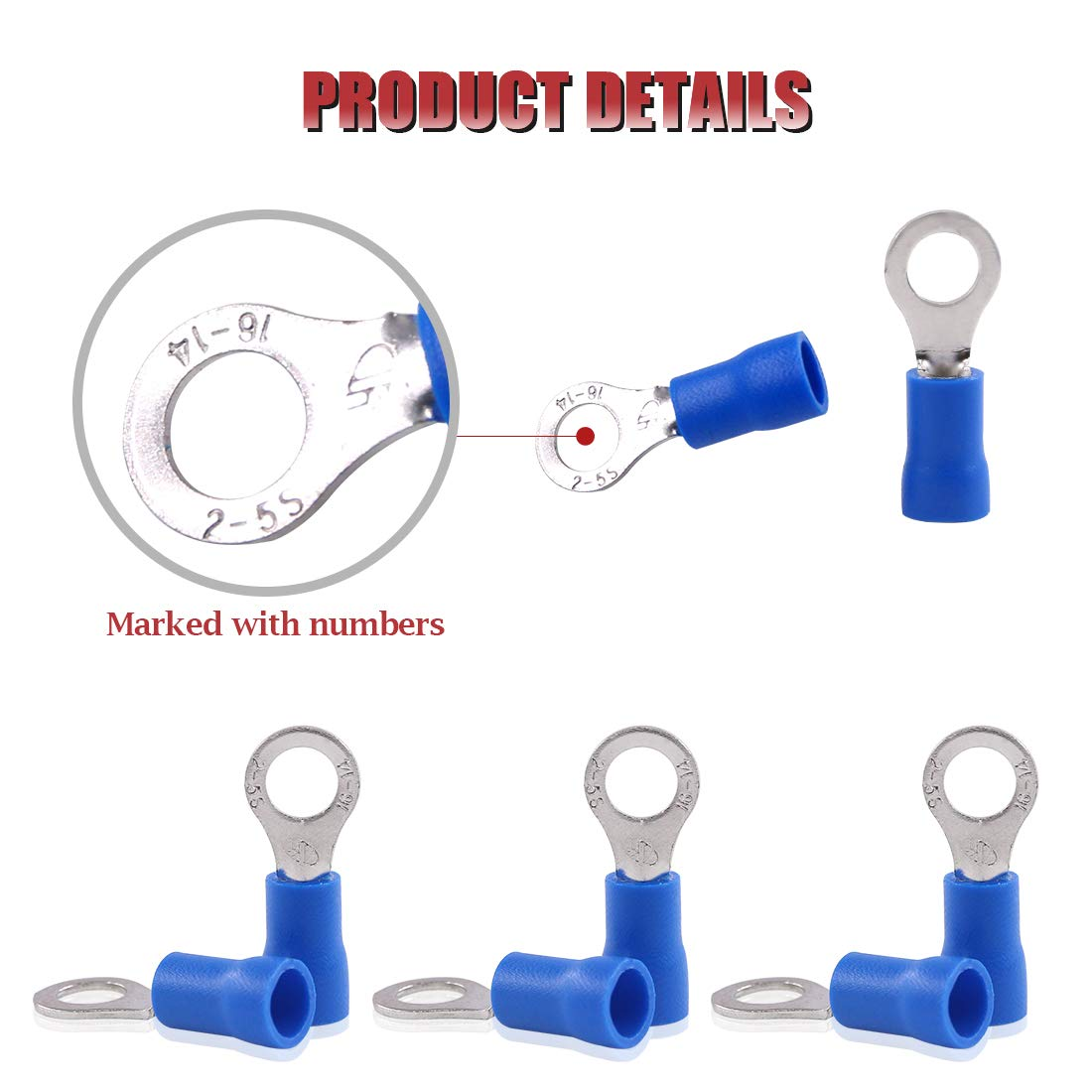 Blue, M5 Hilitchi 100Pcs 16-14AWG Insulated Terminals Ring Electrical Wire Crimp Connectors