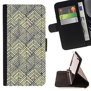 For Samsung Galaxy S5 V SM-G900 Case , Escalas Art Pen Vignette papel amarillo- la tarjeta de Crédito Slots PU Funda de cuero Monedero caso cubierta de piel