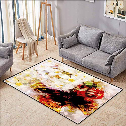 Butterfly Rug Paisley (Classroom Rug,Paisley Decor,Flower Garden with Orchids Roses Jasmines and Butterflies Abstract Decor,Children Crawling Bedroom Rug,4'11