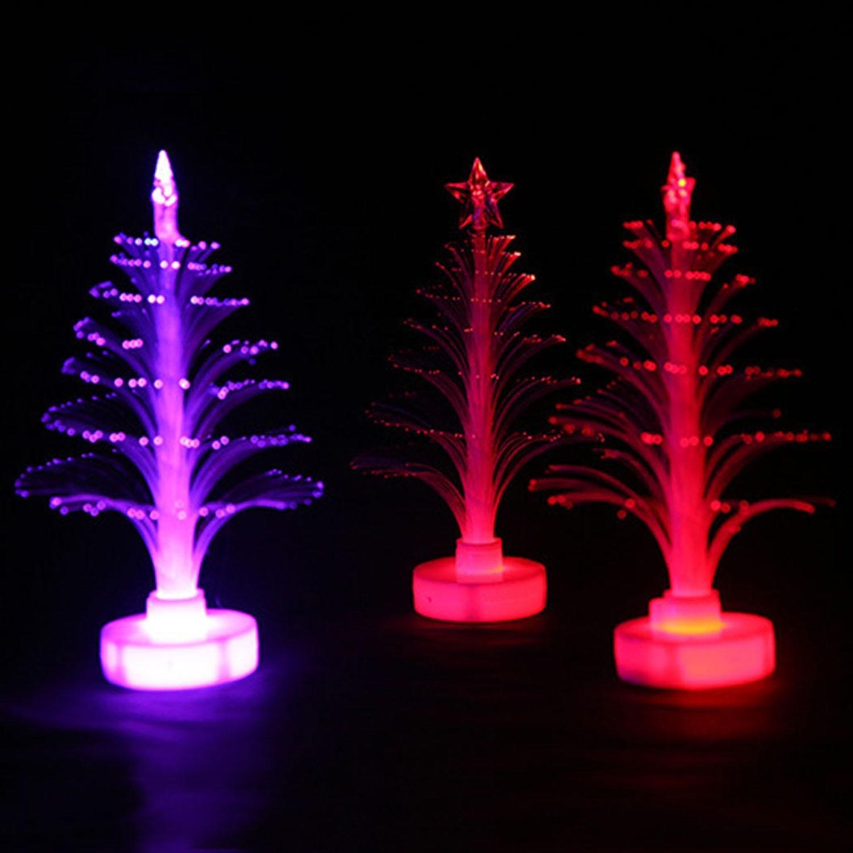 eubell LED Night Light Colorful Fiber Optic Christmas Tree Decoration Desk Table Lamp