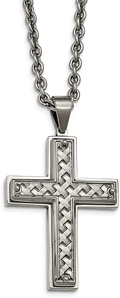 Stainless Steel Polished Weaved Pattern Cross Necklace Length 24.5 Width