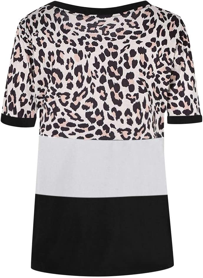 YAnGSale Womens Tops Round Neck Short Sleeved T-Shirt Blouse Splice Leopard Print Top Tunic Ladies Fashion Plus Size Outwear Clothing