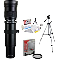 "Opteka 420-1600mm f/8.3 HD Telephoto Zoom Lens with UV Filter and 54"" Tripod for Canon EOS 80D, 77D, 70D, 60D, 60Da, 7D, 6D, 5D, 5Ds, 1Ds, T7i, T7s, T7, T6s, T6i, T6, T5i, T5, SL2 Digital SLR Cameras"