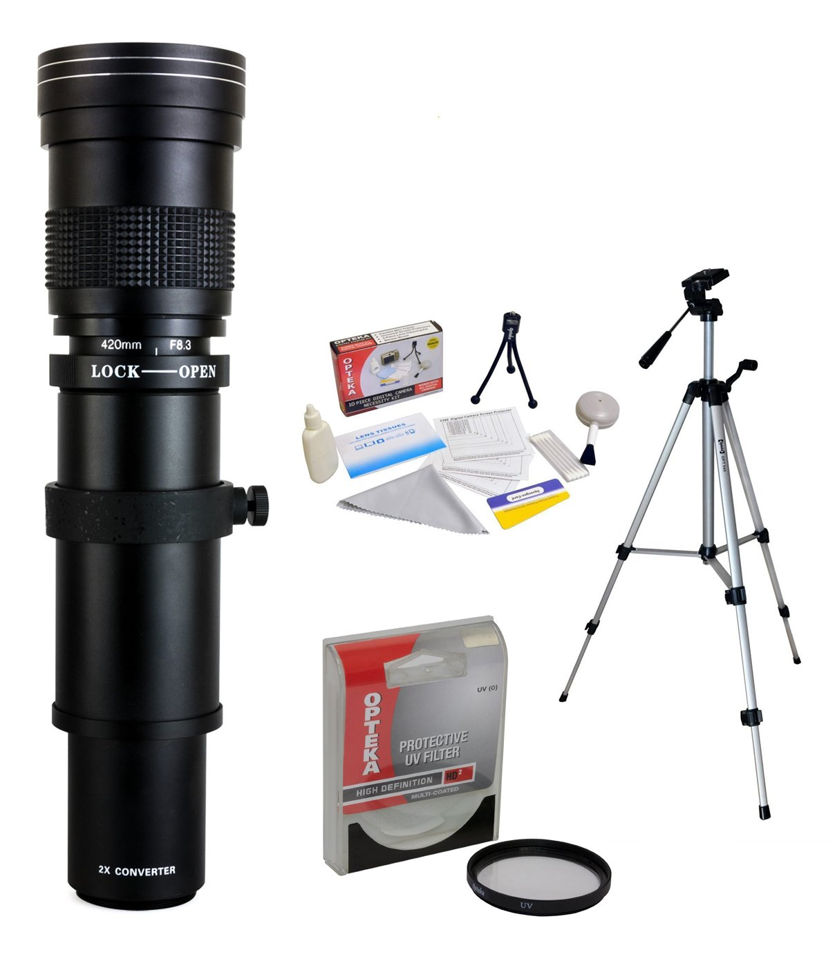 Opteka 420 – 800 mm f / 8.3望遠レンズUVフィルターと三脚付きSony Alpha a99 , a77 , a65 , a58 , a57 , a55 , a37 , a35 , a33 , a900 , a700 , a580 , a560 , a550 , a390 , a380、a330、a290デジタルSLRカメラ B00OPBXE12
