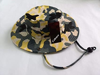 2e79401d87b Cobrave Children and Adults Cotton Camo Hat Bucket Boonie Hat Sun Hat  Fishing Hat(Yellow