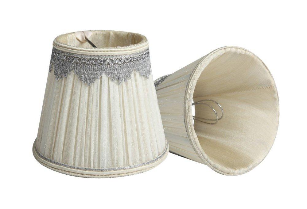 Splink 2pcs Style Européen Clip-on Abat-jour en Tissu Handmade pour Bougie Lustre Lampe de Table Applique Mural 90*140*120mm