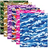Bazic Products Bright Colored Glossy Finish Laminated Camouflage Design 2 Pocket Portfolios - Set of 4 Folders