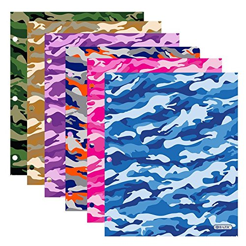 Bazic Products Bright Colored Glossy Finish Laminated Camouflage Design 2 Pocket Portfolios - Set of 4 Folders