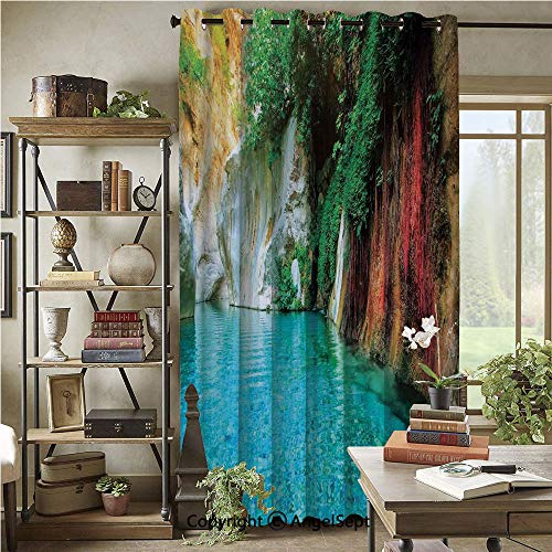 Wide Window Curtain,Isolated Natural Lagoon Cove Clear Water Lake Ivy Colorful Moss Rocks Sunshine,72x108inch,Noise Reduction,Heat Insulation,Multicolor