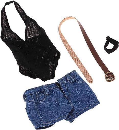 1:6 Low-cut Bodysuit Denim Shorts Clothes Set for 12inch Female Figure Doll