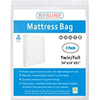 BYSURE 3 Mil Thick Mattress Bag for Moving and Storage - Not Clear Plastic - Protecting Your Mattress and Your Privacy, Fits Twin/Full/Queen/King Size