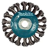 Makita 1 Piece - 4 Inch Knotted Twist Wire Wheel Brush For Grinders - Heavy-Duty Conditioning For Metal - 4'' x 5/8-Inch | 11 UNC
