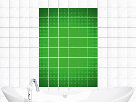 Adesivi piastrelle adesivo per bagno cerchio a pois verdi bildgröße