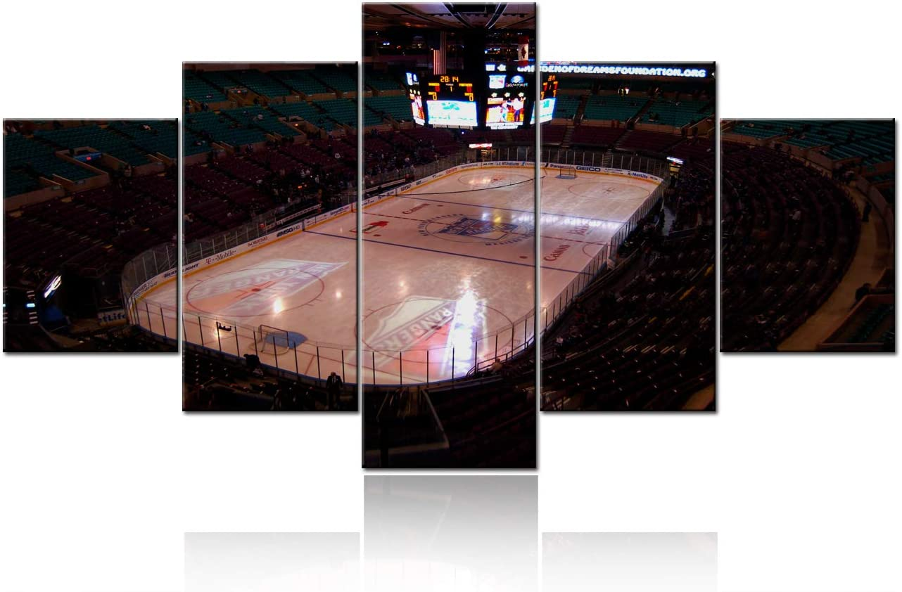5 Panel New York Manhattan Madison Square Garden Stadium Canvas Wall Art Paintings Modern Artwork NHL Sports Picture Prints Home Decoration Gift Unique Designed Framed Ready to Hang - 60''Wx32''H