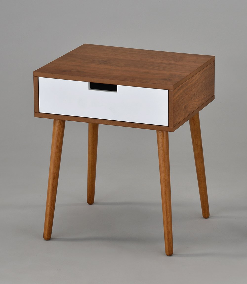 Light Walnut/White Side End Table Nighstand with Drawer 22.5''H