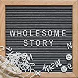 GRAY FELT LETTER BOARD - 10x10 Wooden Oak Frame with Wall Mount - 346 Changeable White Alphabet Letters, Numbers, and Emojis - Canvas Bag - Farmhouse Decor, Vintage, Rustic Sign - Gift Ready Packaging