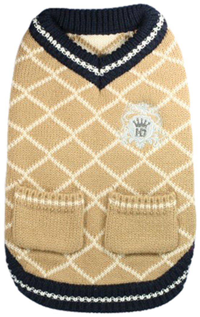 Hip Doggie Royal Crest Sweater Vest (XL) (Tan)