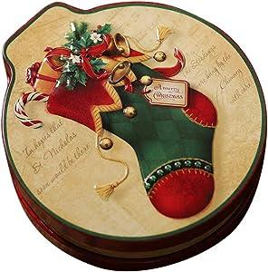 Amosfun Christmas Tin Box Round Bump Christmas Sock Pattern Holiday Goodie Food Containers for Christmas Holiday Decor