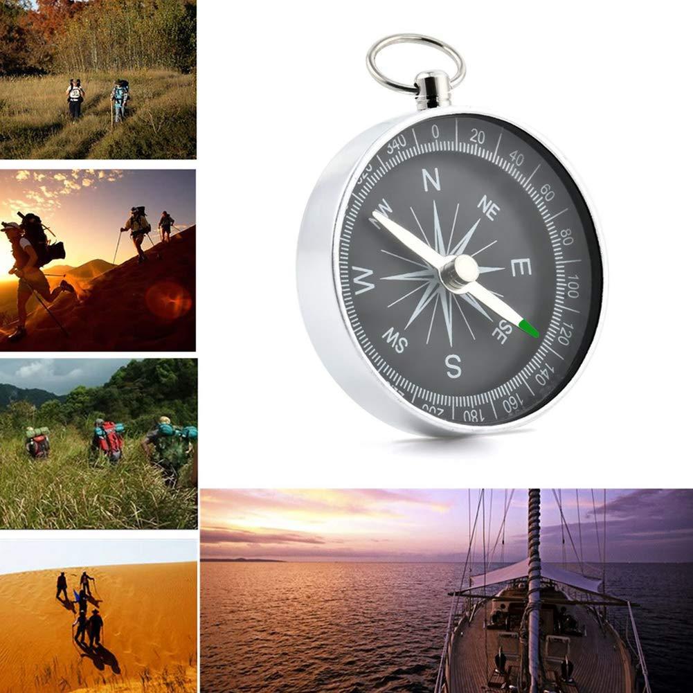 Ogquaton 44 mm Mini Kompass Protable Aluminium Camping Kompass Wandern Wanderer Navigation Schwarz Langlebig und praktisch