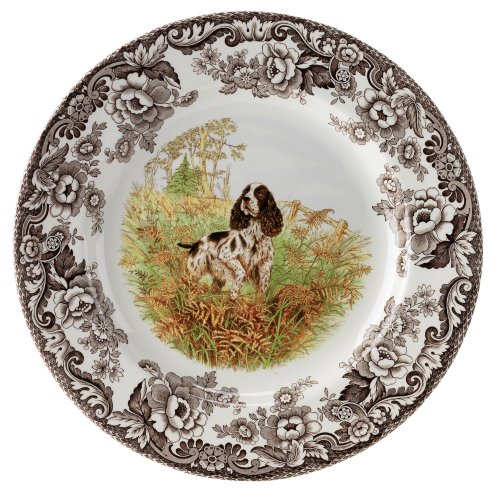 Spode 783931359576 Woodland Hunting Dogs English Springer Spaniel Dinner Plate, One Size, Multicolor