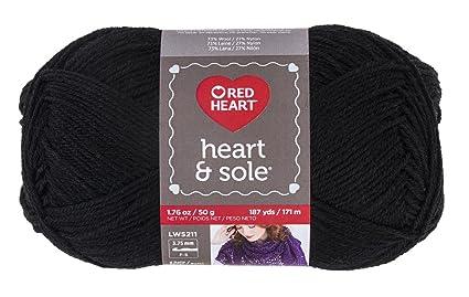 Coats Yarn Abrigos de Hilo Rojo corazón y Suela de Hilo, Color Negro