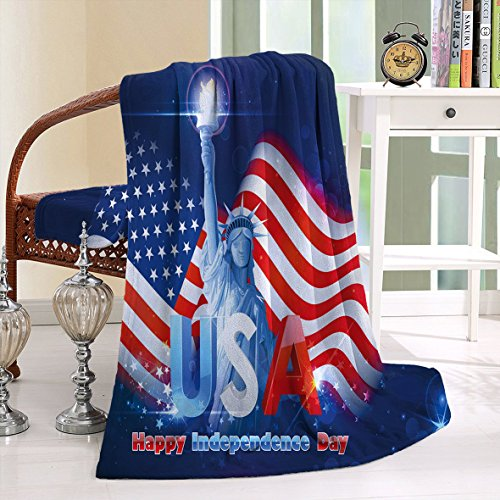 HAIXIA Blanket 4th of July Hipster Dog Sun Glasses and US Flag Comic Absurd Joke Illustration Blue - Anaheim Malls