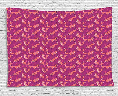 YouXianHome Forest Friends Tapestry Artsy, Pattern with Lovely Foxes Hearts and Dots, Tapestries for Bedroom Living Room Dorm, 90 W x 60 L Inches, Rose Dark Peach Dark Violet Blue Dark Magenta]()