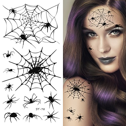 Supperb Temporary Tattoos - Spider Webs Halloween Face Tattoos -