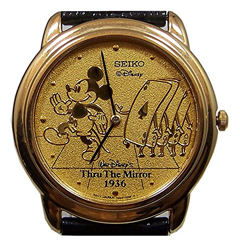 Mickey Mouse Watch Through the Mirror Mickey with Cards Gold Lmt. Ed Seiko