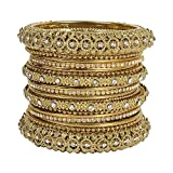MUCH-MORE Ethnic Traditional Indian Bollywood Style Antique Gold Plated Polki Bangle Jewelry For Women (66, 2.8)