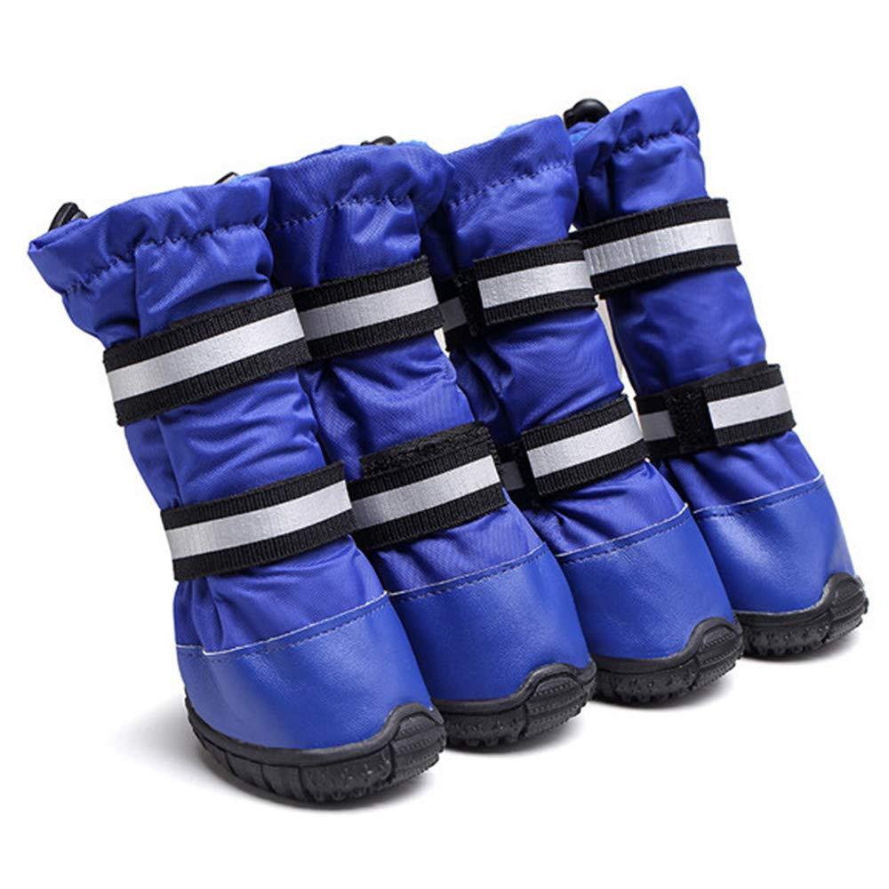 bluee 55 bluee 55 Pet Rain Boots Snow shoes Big Dog shoes Universal Pet shoes Reflective Strap Dog shoes Waterproof