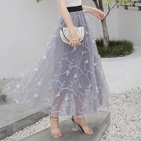 KLGDF Falda Falda Larga Elegante Falda Coreana de Verano Negro ...